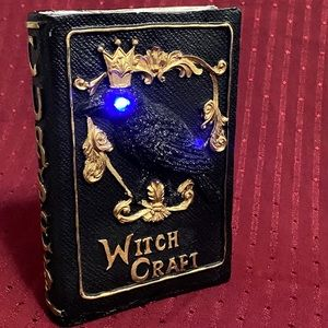 Witch Book Decor with Light up Raven